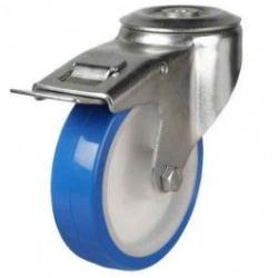 80mm Medium Duty Elasticated Polyurethane On Nylon Bolt Hole Braked Castors