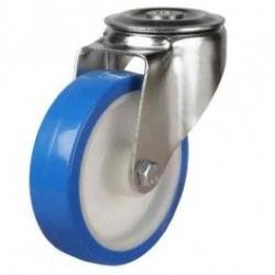 80mm Medium Duty Elasticated Polyurethane On Nylon Bolt Hole Castors