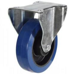 80mm Blue Elastic Rubber Fixed Castor Up To 150kg Capacity