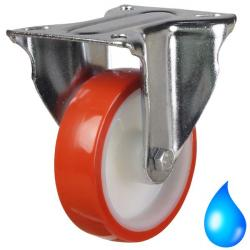 80mm Medium Duty Polyurethane On Nylon Centre Stainless Steel Fixed Castors