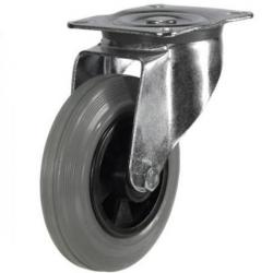 80mm medium duty swivel castor grey rubber wheel