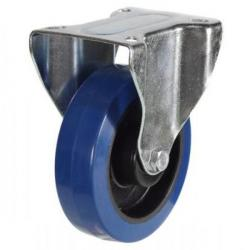 100mm Blue Elastic Rubber Fixed Castor Up To 180kg Capacity