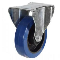 200mm Blue Elastic Rubber Fixed Castor Up To 350kg Capacity