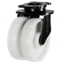 200mm Heavy Duty Twin Nylon Wheel Swivel Castor Up To 1500kg Capacity