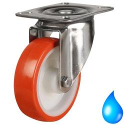 Stainless Steel, Swivel castors 80mm wheel diameter upto 100kg capacity