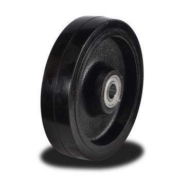 250mm Rubber tyre on Cast Iron Centre wheel with 500Kg Capacity