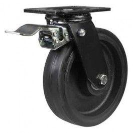 100mm Elastic Rubber On Cast Iron Core Braked Castors