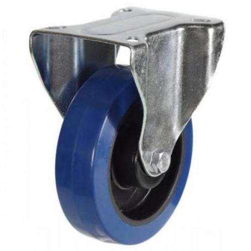 100mm Heavy Duty Blue Rubber Fixed Castors