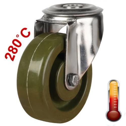 100mm Medium Duty High Temperature Resistant Bolt Hole Castors