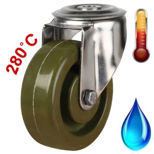 100mm Medium Duty High Temperature Resistant Stainless Steel Bolt Hole Castors