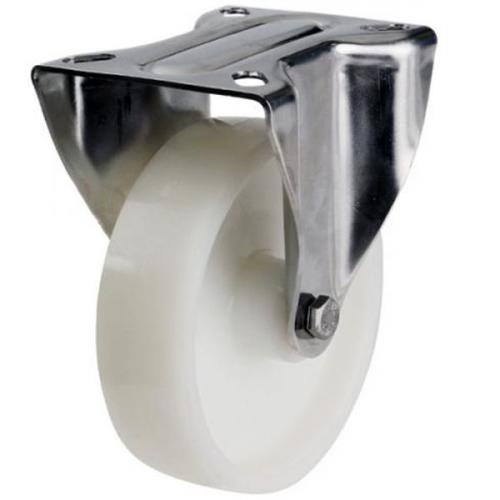 100mm Light Duty White Nylon Fixed Castor - 200KG Capacity