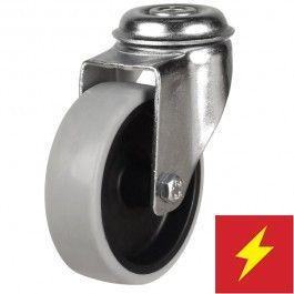 100mm Synthetic Non-Marking Antistatic Rubber Bolt Hole Castors