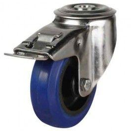 125mm Medium Duty Elastic Rubber Non-Marking Bolt Hole Braked Castors