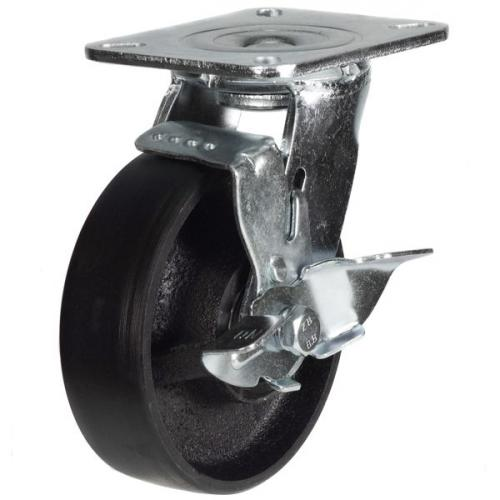 125mm Heavy Duty Cast Iron Braked Castors - 500kg capacity