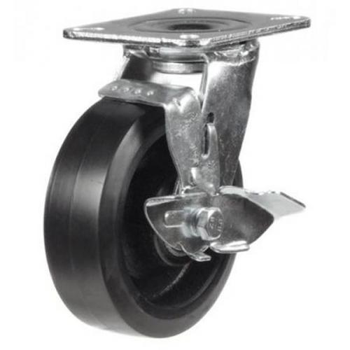 125mm Heavy Duty Rubber on Cast Iron Braked castors - 275kg capacity
