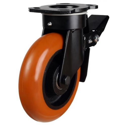 125mm Round Profile Polyurethane On Cast Iron Core Heavy Duty Braked Castors