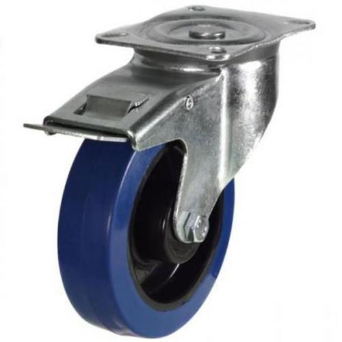 125mm medium duty braked castor blue elastic rubber wheel