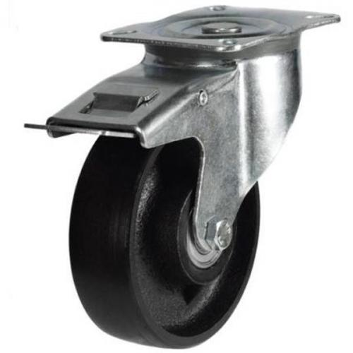 125mm medium duty braked castor cast iron wheel