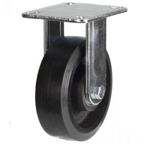 150mm Heavy Duty Rubber on Cast Iron Fixed castors - 400kg capacity