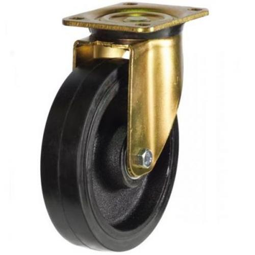 150mm Heavy Duty Rubber on Cast Iron Swivel castors - 450kg capacity