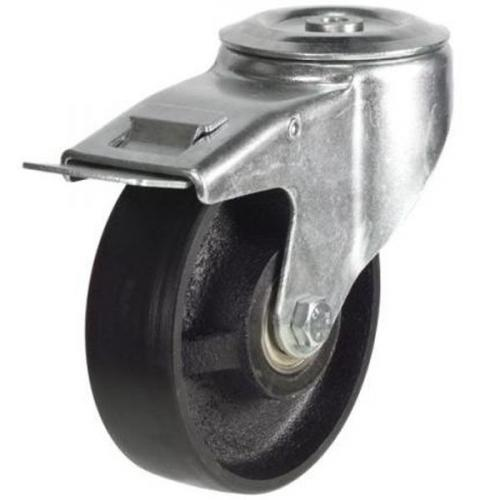 150mm Light Duty Cast Iron M12 Bolt Hole Braked castors - 350kg capacity