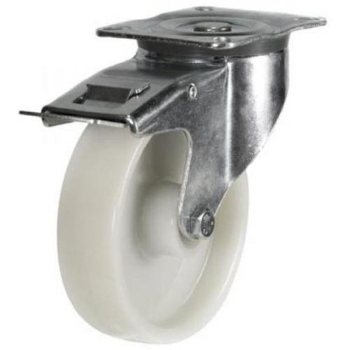 150mm medium duty braked castor nylon wheel