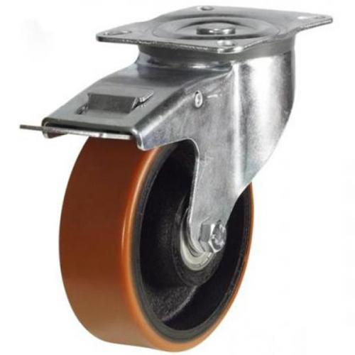 150mm medium duty braked castor poly/cast wheel