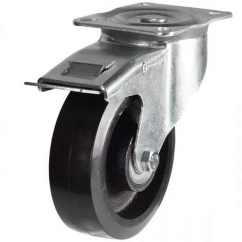 150mm medium duty braked castor rubber cast iron wheel