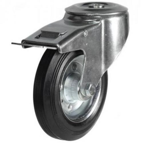 160mm Heavy Duty Rubber on Steel Bolt Hole Braked castors - 135kg capacity
