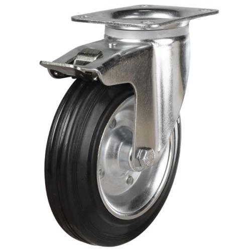 160mm Rubber Tyre On Steel Disk Centre & Rubber Tyre On Plastic Braked Castors