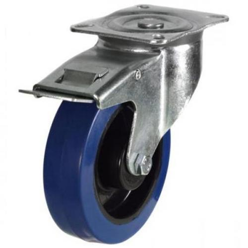 160mm medium duty braked castor blue elastic rubber wheel