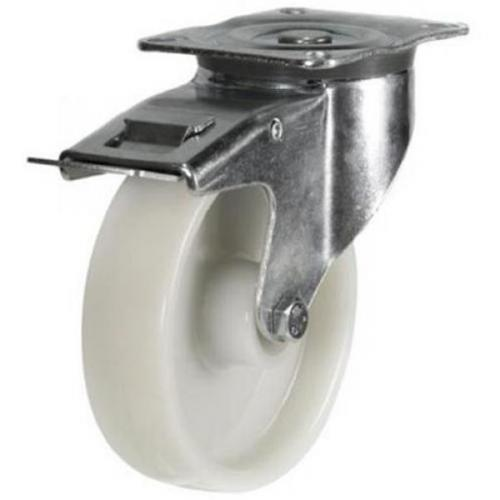 160mm medium duty braked castor nylon wheel
