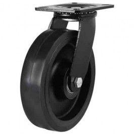 200mm Heavy Duty Elastic Rubber On Cast Iron Core Swivel Castors