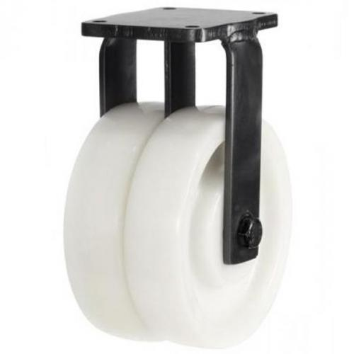 200mm Extra Heavy Duty Nylon Twin Wheel Fixed castors - 2000kg capacity