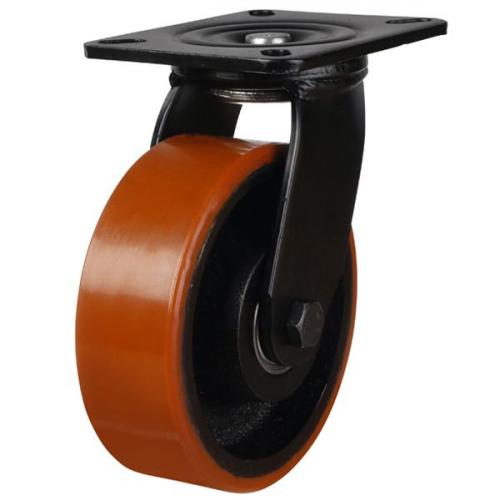 200mm Medium Duty Polyurethane On Cast Iron Swivel Castors