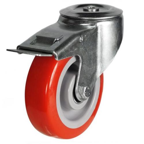 200mm Light Duty Poly Nylon M12 Bolt Hole Braked castors - 350kg capacity
