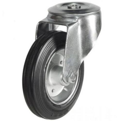 200mm Light Duty Rubber on Steel M12 Bolt Hole castors - 205kg capacity