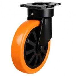 200mm Heavy Duty Polyurethane On Nylon Centre Swivel Castors