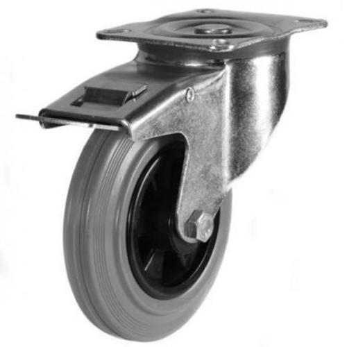 200mm medium duty braked castor grey rubber wheel