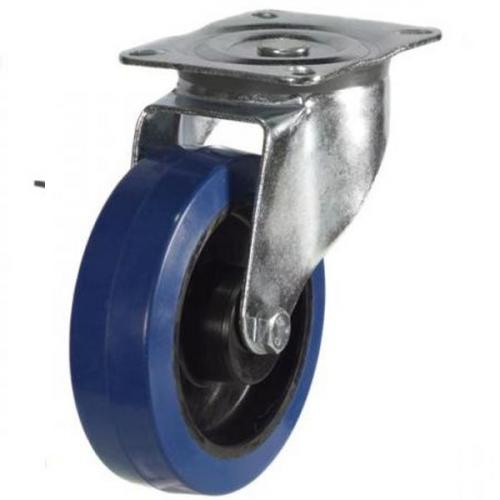 200mm medium duty swivel castor blue elastic rubber wheel