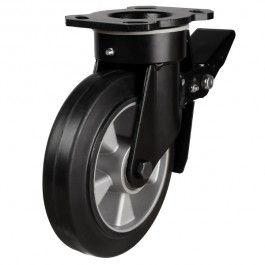 250mm Heavy Duty Elastic Rubber Braked Castors
