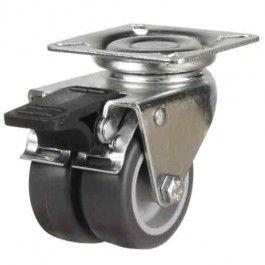 50mm Light Duty Twin Wheel Rubber Braked Castor