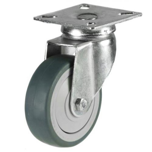 75mm Grey Non-Marking Rubber Swivel Castor Up To 50kg Capacity