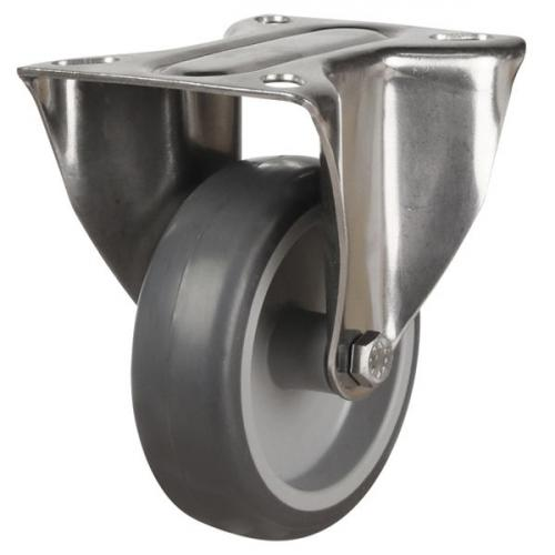 80mm Light Duty Non-Marking Grey Rubber Fixed Castor