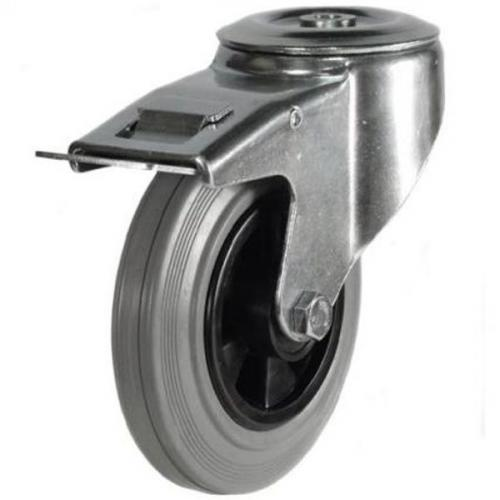 80mm Light Duty Rubber On Plastic M12 Bolt Hole Braked castors - 60kg capacity