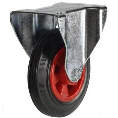 80mm Light Duty Rubber on Plastic Fixed Castor - 60kg capacity