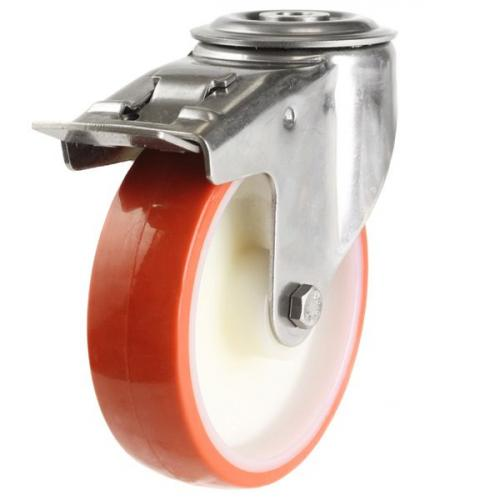 100mm Medium Duty M12 Bolt Hole Braked castor - 150kg capacity